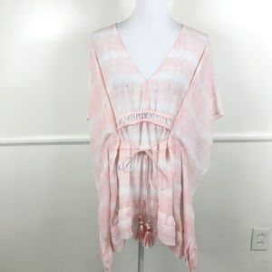 Lane Bryant Pink Sheer Poncho Style Blouse 14/16